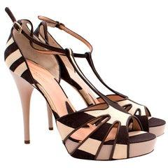 Alessandro Dell'Acqua Brown and Cream Heels - Size EU 40