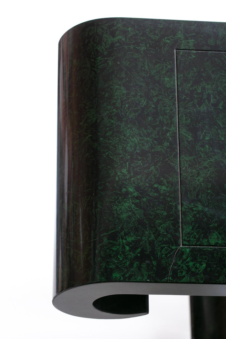 Alessandro for Baker Asian Modern Faux Malachite Finish Console, circa 1980 For Sale 4