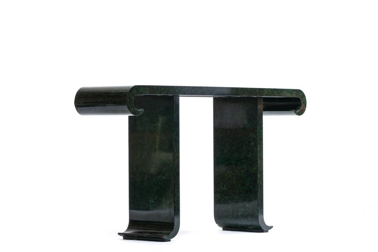 Hollywood Regency Alessandro for Baker Asian Modern Faux Malachite Finish Console, circa 1980 For Sale