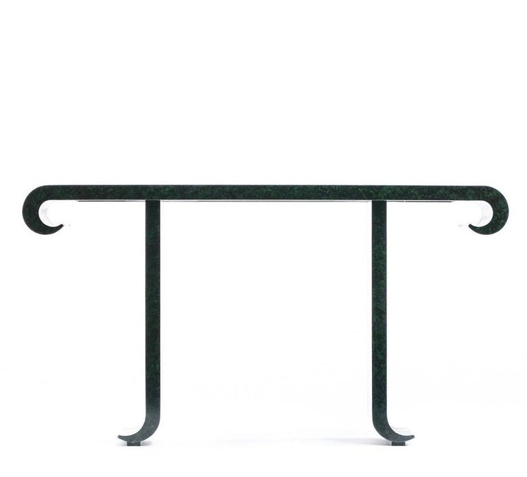 Alessandro for Baker Asian Modern Faux Malachite Finish Console, circa 1980 In Good Condition For Sale In Saint Louis, MO