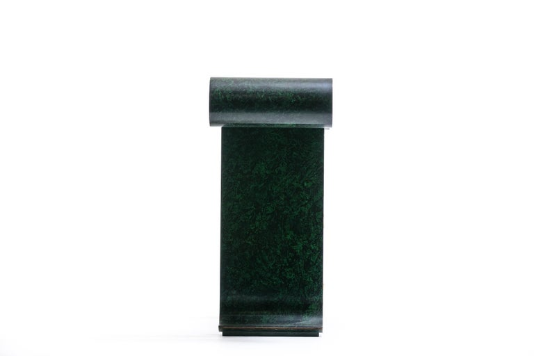Late 20th Century Alessandro for Baker Asian Modern Faux Malachite Finish Console, circa 1980 For Sale