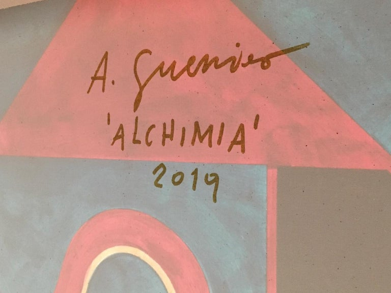 Acrylic Alessandro Guerriero Painting for Alchimia For Sale