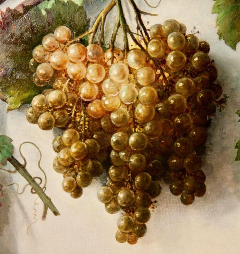 Canvas Alessandro Mantovani 'Ferrara 1814-Roma 1892' Red Grapes-White Grapes For Sale