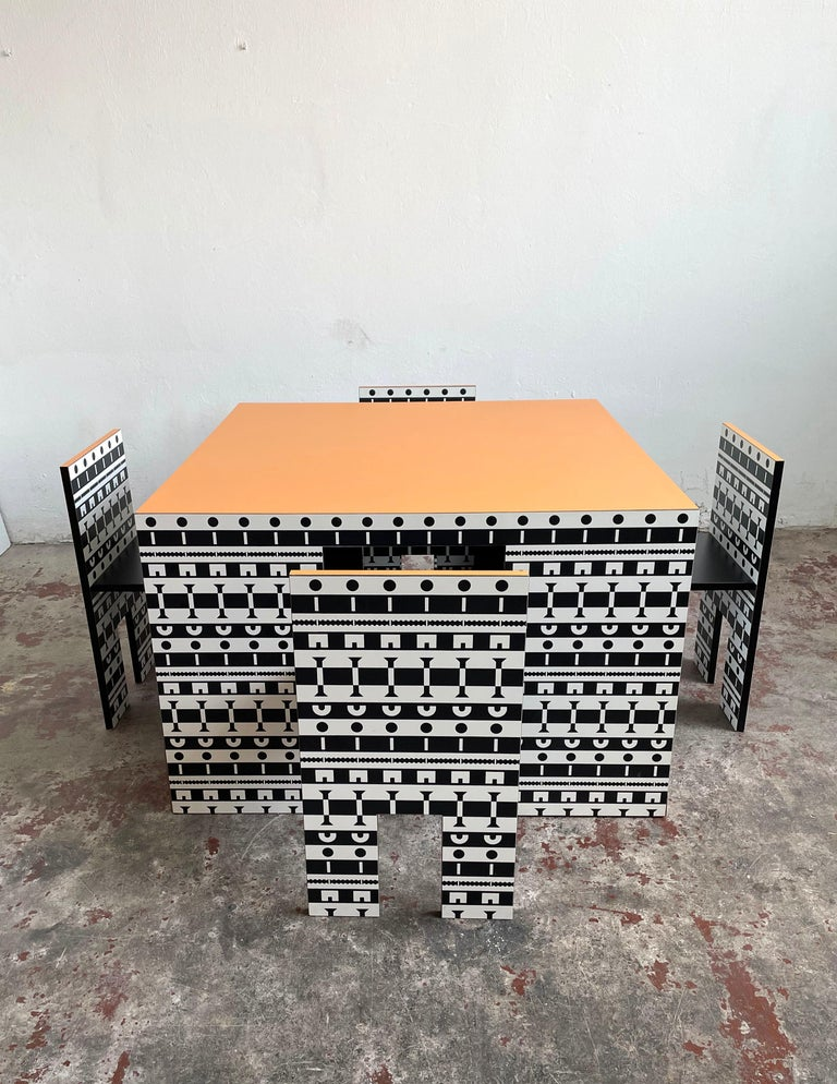 Post-Modern Alessandro Mendini and A. Guerriero, Table and Chairs 'Ollo', Studio Alchimia For Sale