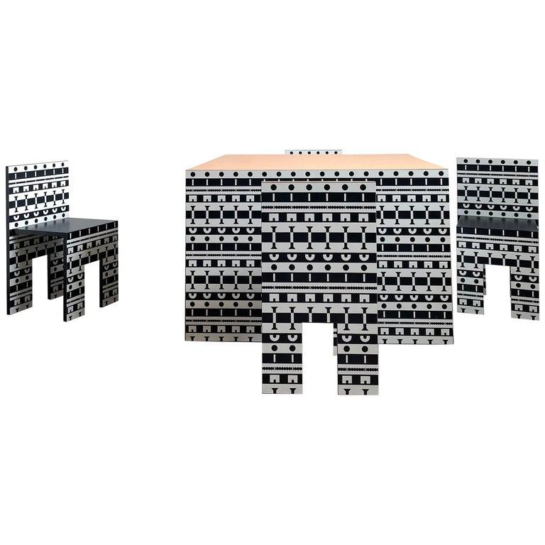 Alessandro Mendini and A. Guerriero, Table and Chairs 'Ollo', Studio Alchimia For Sale