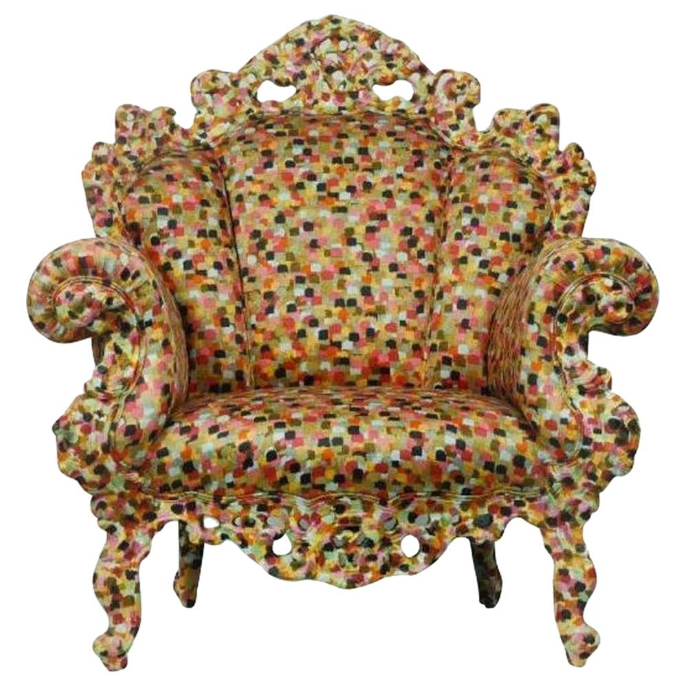 Alessandro Mendini Proust Armchair in Black, Green and Red Fabric Cappellini