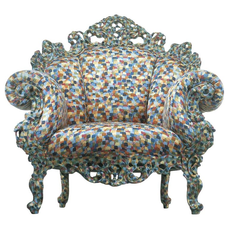 Alessandro Mendini Proust Armchair in Blue, Grey and Yellow Fabric Cappellini For Sale