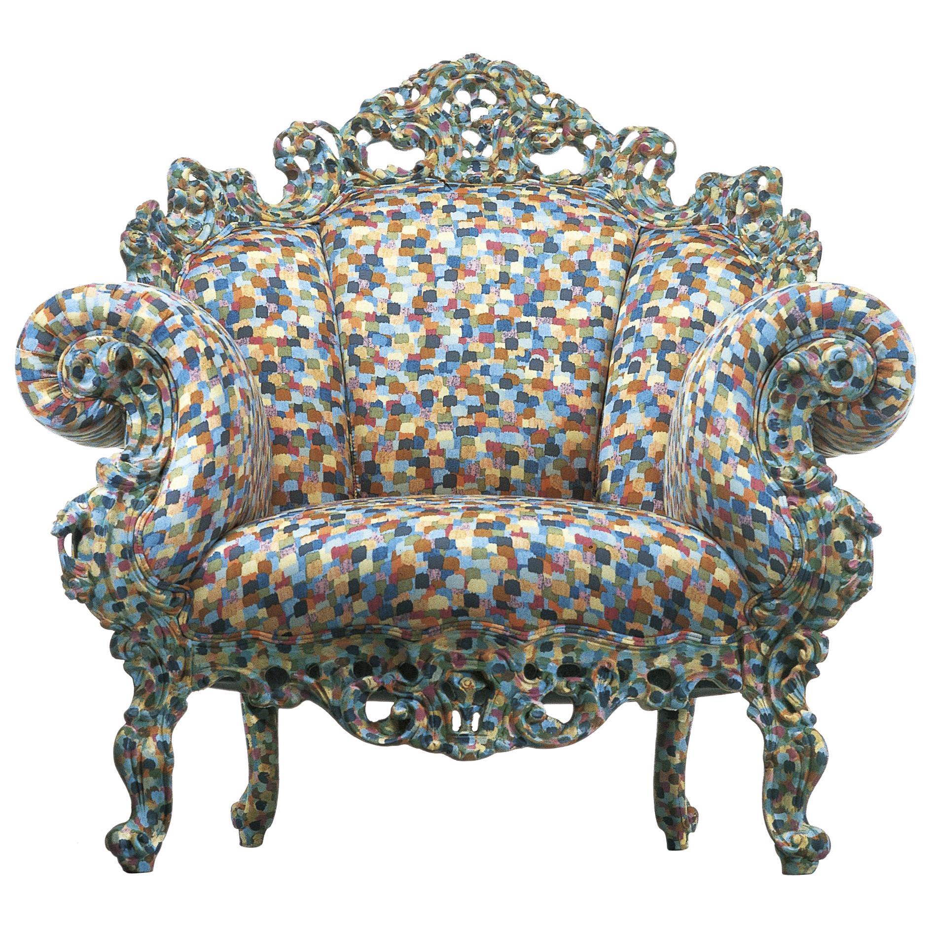 Alessandro Mendini Proust Armchair in Wood Frame & Multi-Color Fabric Cappellini