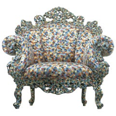 Alessandro Mendini Proust Armchair in Wood Frame & Multi-Color Fabric Cappellini