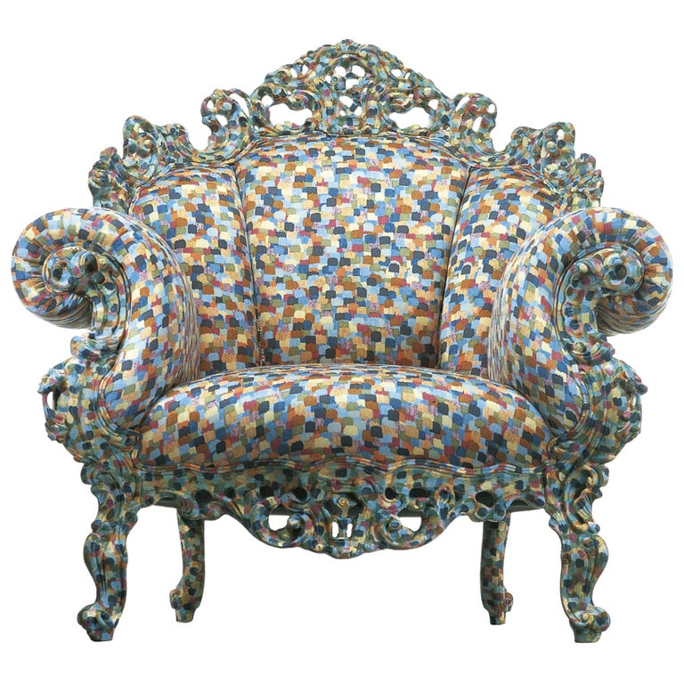 For Sale: Multi (PR1_Fabric ) Alessandro Mendini Proust Armchair in Wood Frame & Multi-Color Fabric Cappellini