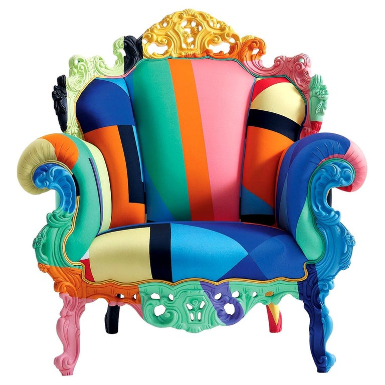 Alessandro Mendini Proust Geometrica Armchair in Multi-Color Fabric, Cappellini For Sale