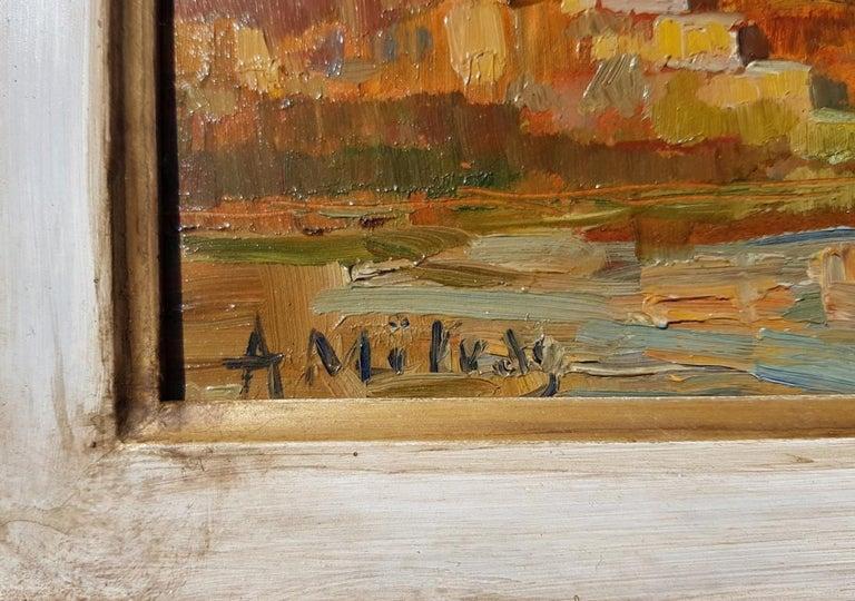 19th century Italian landscape painting - Venetian - Oil on panel Venice Italy For Sale 5