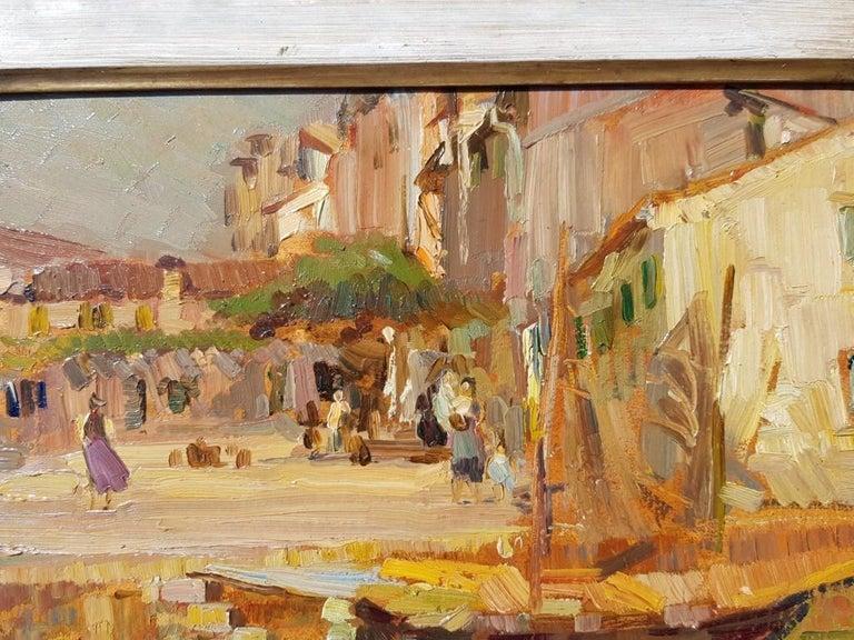 19th century Italian landscape painting - Venetian - Oil on panel Venice Italy For Sale 6