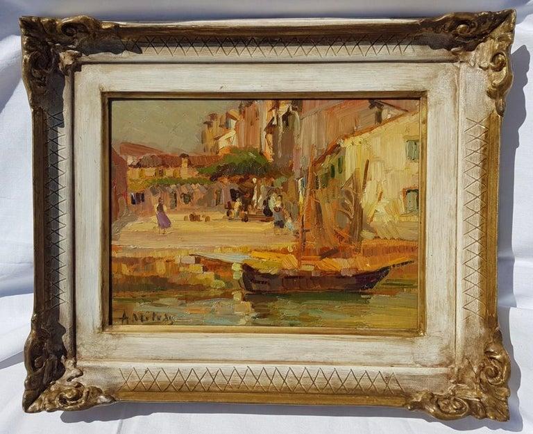 19th century Italian landscape painting - Venetian - Oil on panel Venice Italy - Impressionist Painting by Alessandro Milesi