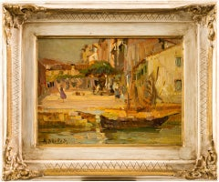 19th century Italian landscape painting - Venetian - Oil on panel Venice Italy
