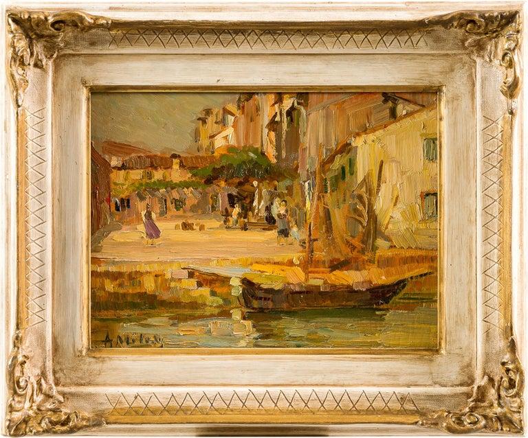 Alessandro Milesi Figurative Painting - 19th century Italian landscape painting - Venetian - Oil on panel Venice Italy