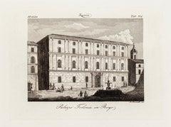 Palazzo Torlonia in Borgo - Original Etching by A. Moschetti - 19th Century