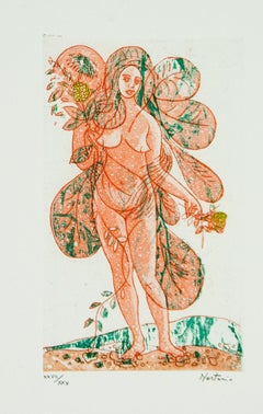 Leaves of Love-Orange Lady lithograph by Alessandro Nastasio