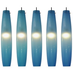 Alessandro Pianon Attributed Blue Glass Pendants for Vistosi, Italy 1960s