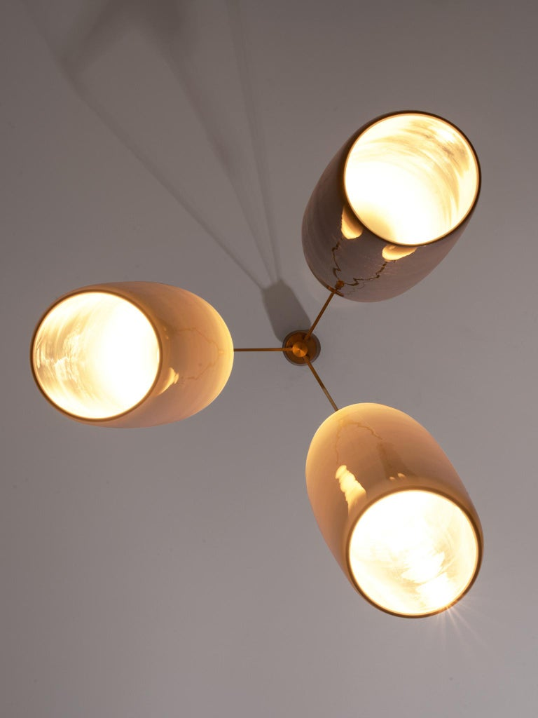 Mid-20th Century Alessandro Pianon Large Pendant with Three Murano Glass Shades For Sale