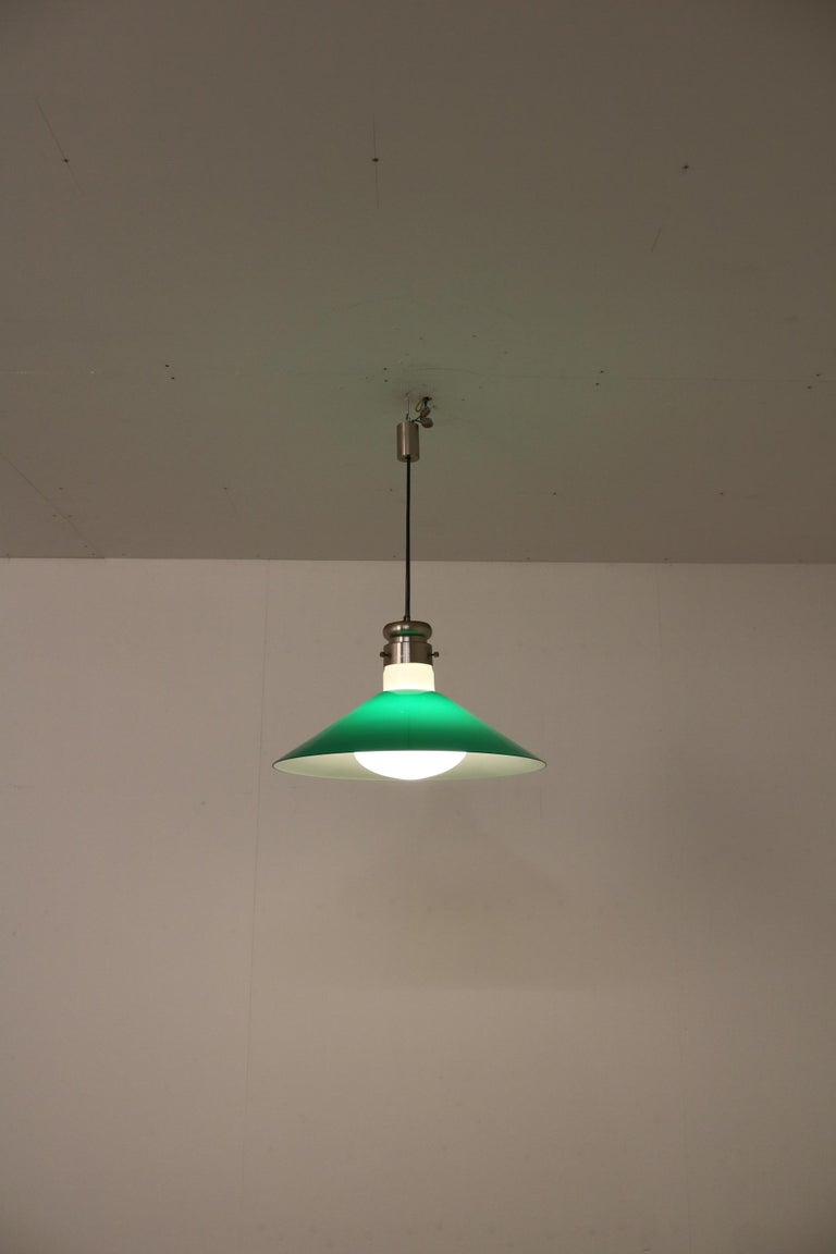 Metal Alessandro Pianon Murano Glass Hanging Lamp for Vistosi, Italy, 1970 For Sale