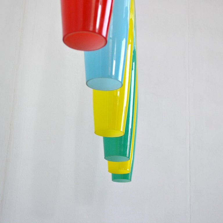 Alessandro Pianon Vistosi Chandelier in Murano Colored Glass, 60's For Sale 3