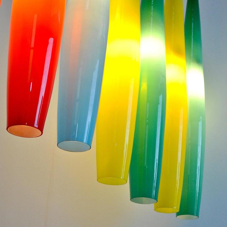 Alessandro Pianon Vistosi Chandelier in Murano Colored Glass, 60's For Sale 8
