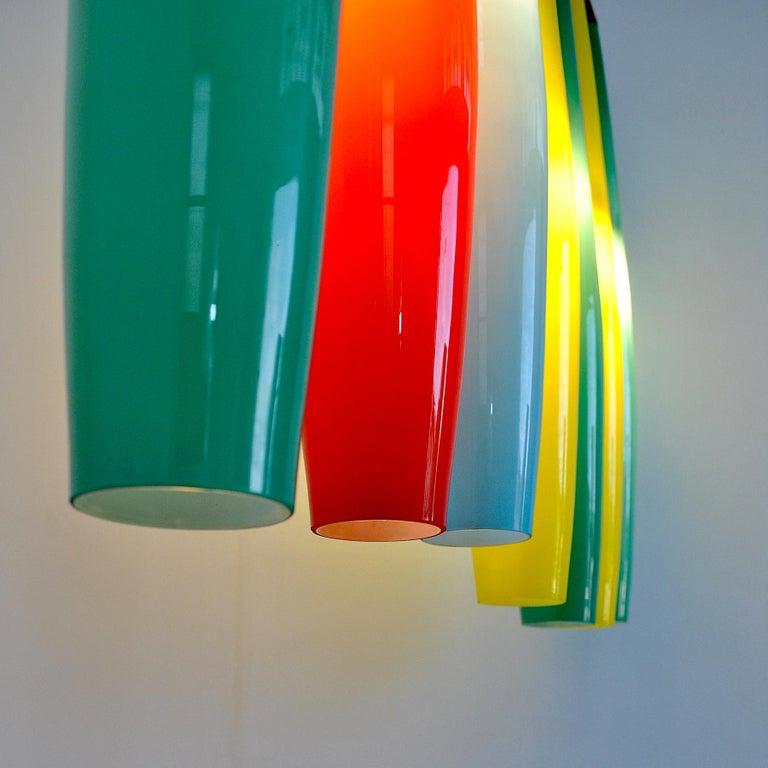 Alessandro Pianon Vistosi Chandelier in Murano Colored Glass, 60's For Sale 9