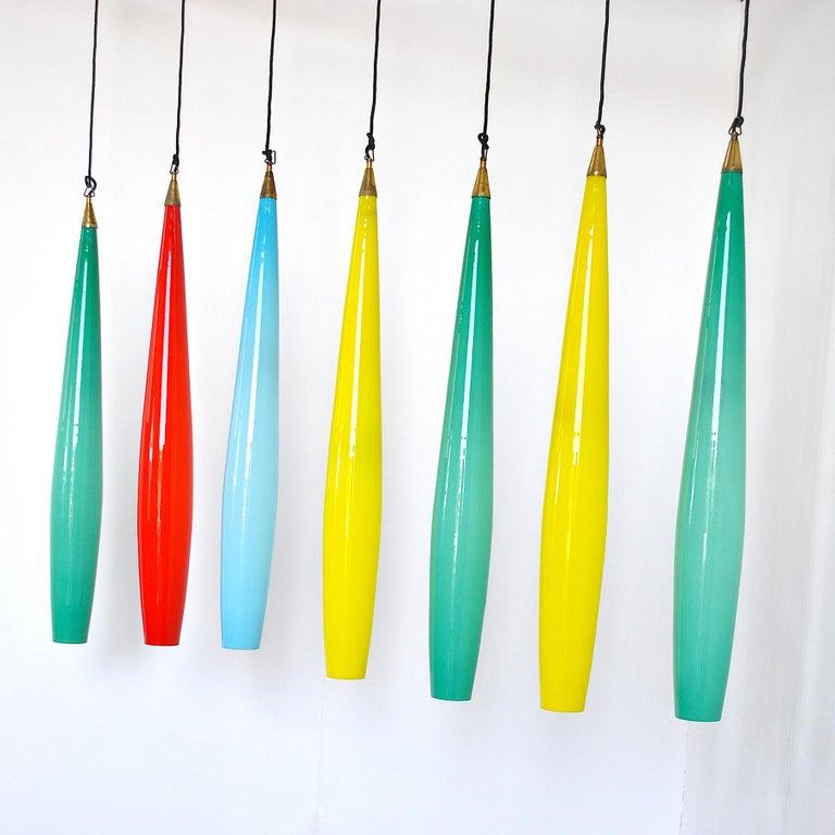 Italian Alessandro Pianon Vistosi Chandelier in Murano Colored Glass, 60's For Sale