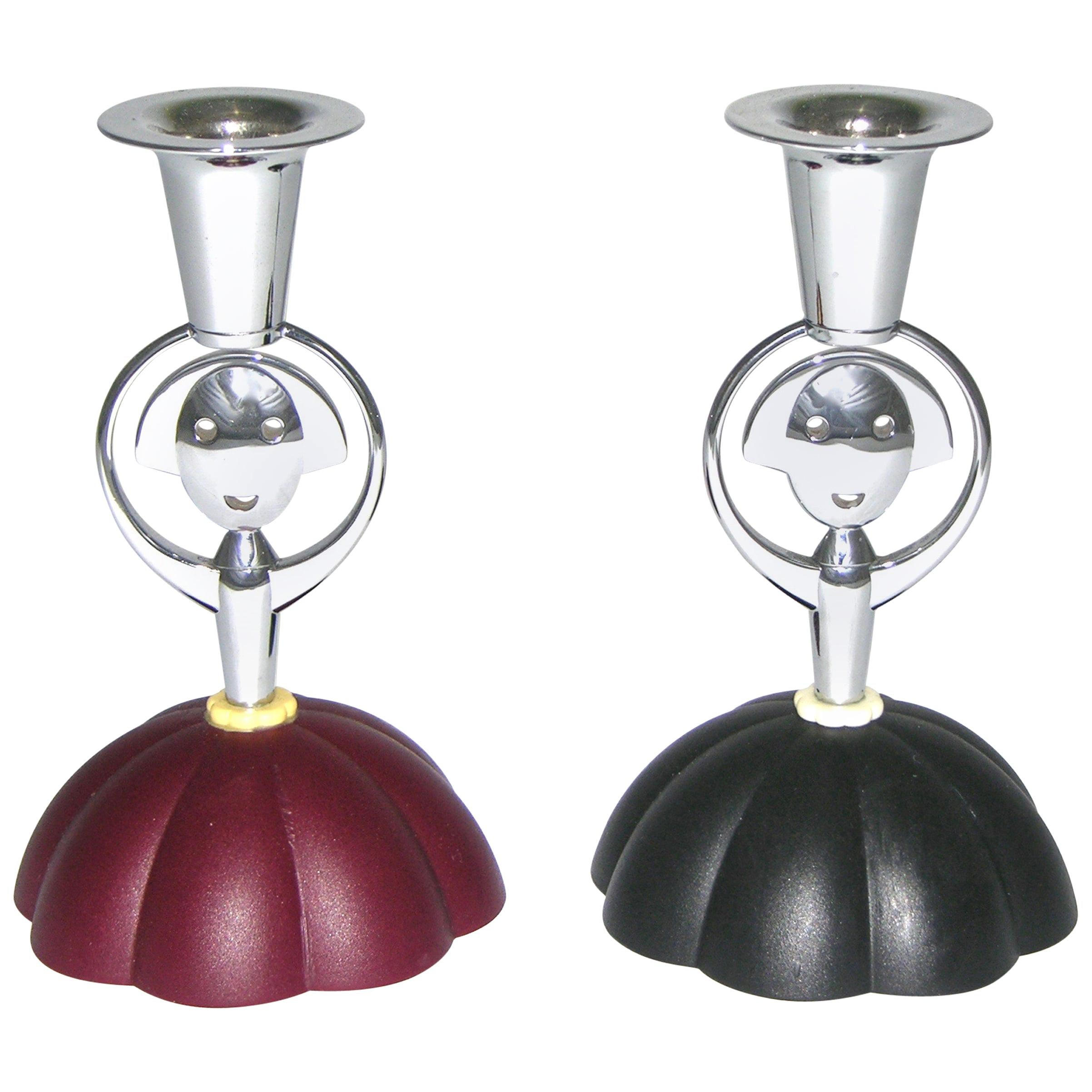 Alessi Alessandro Mendini 1999 Italian Pair of Red and Blue Chrome Candlesticks