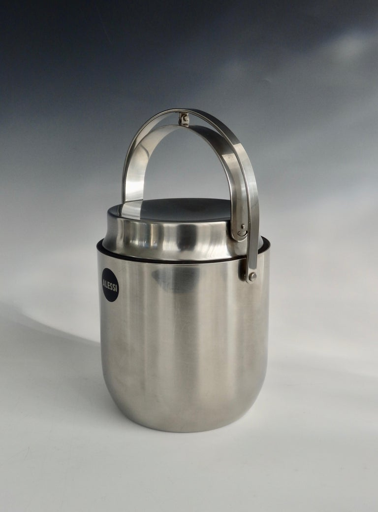 Mid-Century Modern Alessi Italy Stainless Steel Ice Bucket with Mechanical Lid For Sale