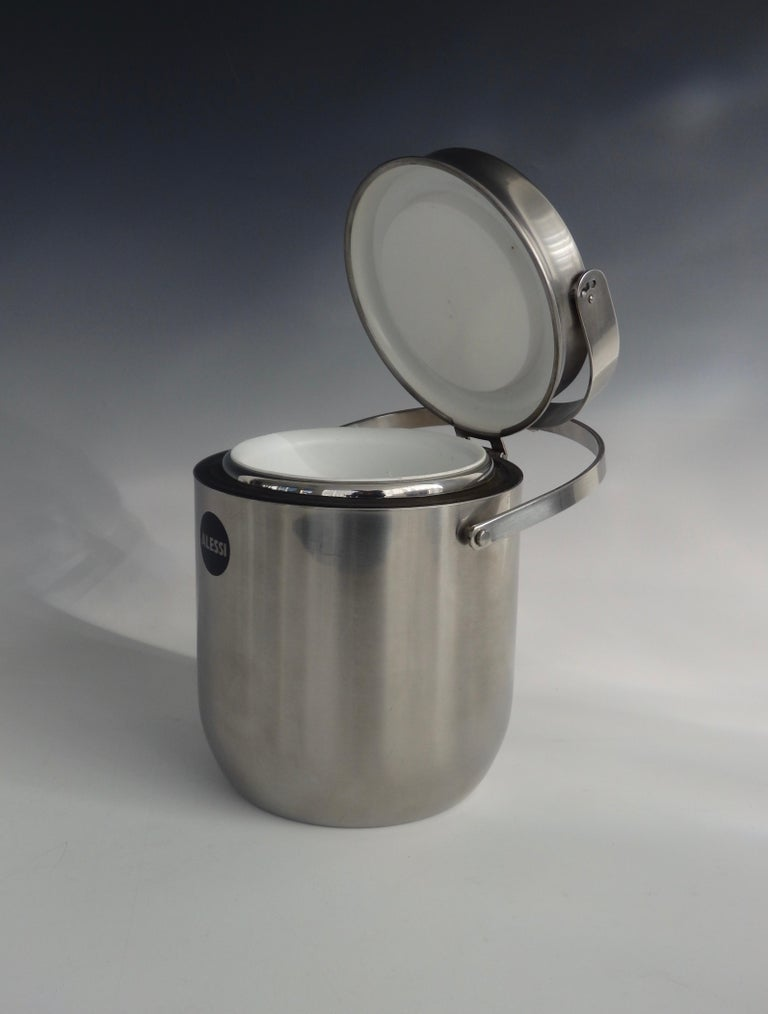 Italian Alessi Italy Stainless Steel Ice Bucket with Mechanical Lid For Sale