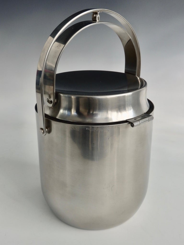 20th Century Alessi Italy Stainless Steel Ice Bucket with Mechanical Lid For Sale