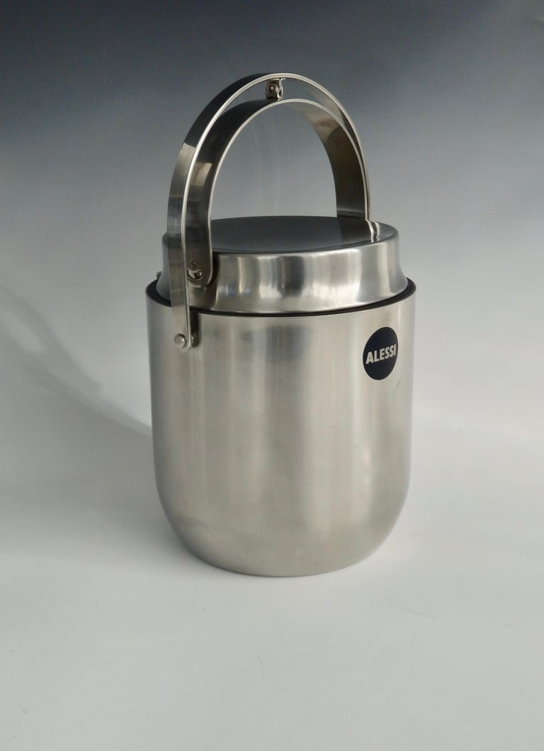Alessi Italy Stainless Steel Ice Bucket with Mechanical Lid For Sale 2
