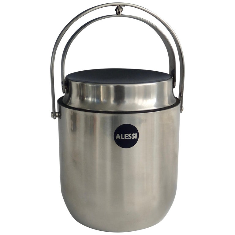 Alessi Italy Stainless Steel Ice Bucket with Mechanical Lid For Sale