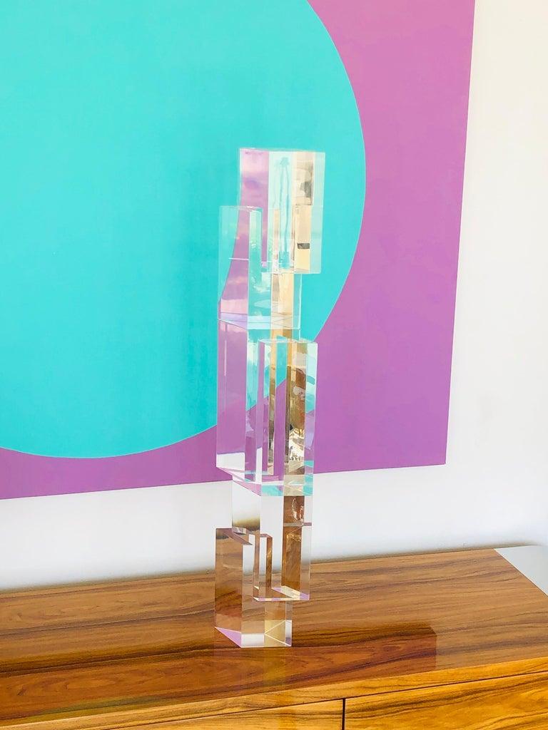 Alessio Tasca 3 Piece Lucite Geometric Interactive Sculpture For Sale 6