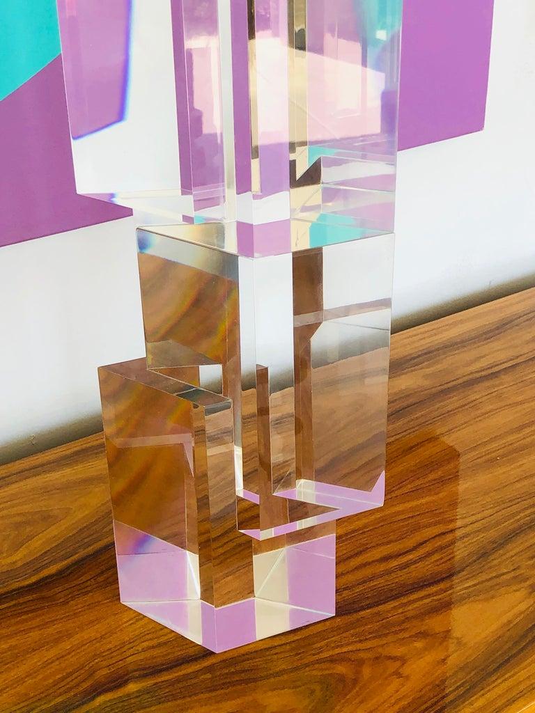 Alessio Tasca 3 Piece Lucite Geometric Interactive Sculpture For Sale 7
