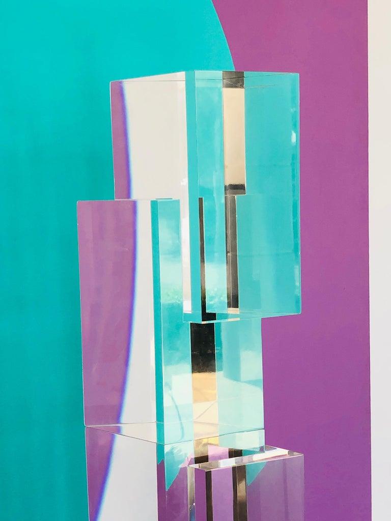 Alessio Tasca 3 Piece Lucite Geometric Interactive Sculpture For Sale 8