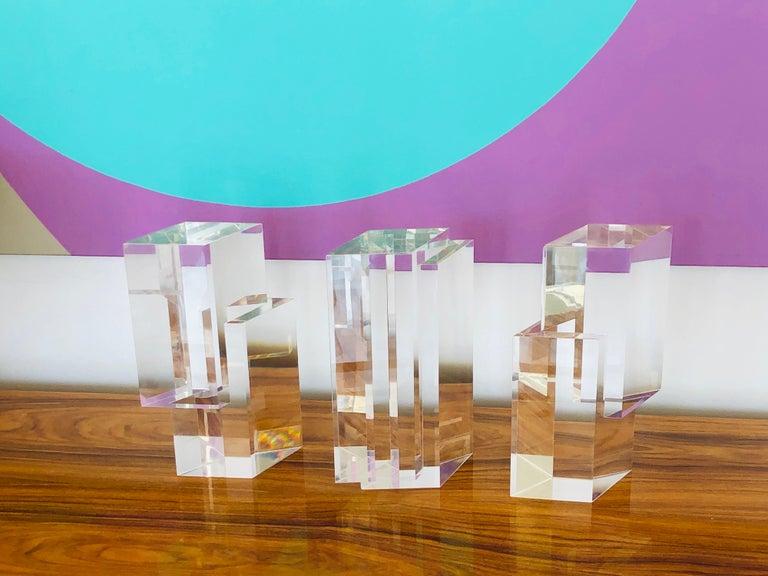Italian Alessio Tasca 3 Piece Lucite Geometric Interactive Sculpture For Sale