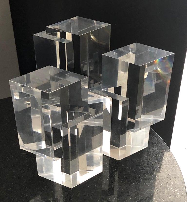 Alessio Tasca 3 Piece Lucite Geometric Interactive Sculpture In Good Condition For Sale In Miami, FL