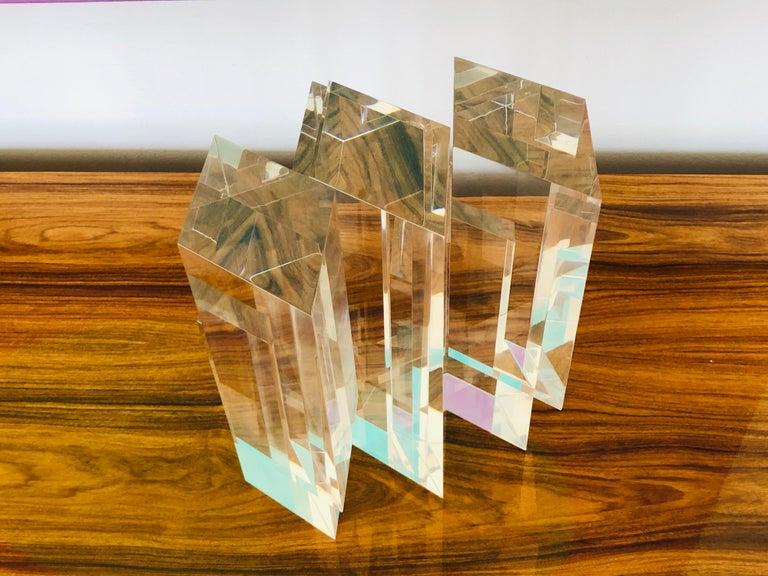 Alessio Tasca 3 Piece Lucite Geometric Interactive Sculpture For Sale 2
