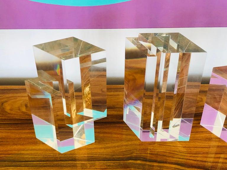 Alessio Tasca 3 Piece Lucite Geometric Interactive Sculpture For Sale 3
