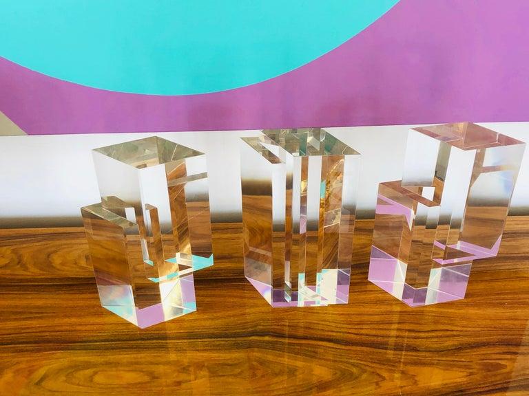 Alessio Tasca 3 Piece Lucite Geometric Interactive Sculpture For Sale 4