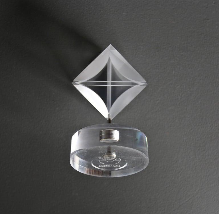 Steel Alessio Tasca Acrylic Prism Sculpture for Fusina, circa 1970 For Sale