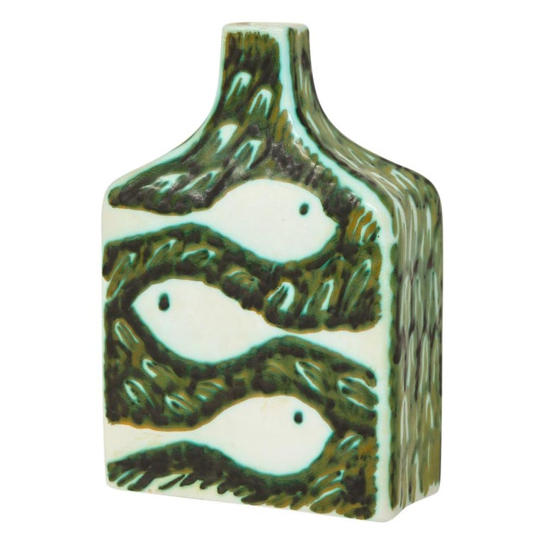 Alessio Tasca for Raymor Vase, Ceramic, Green and White, Signed For Sale