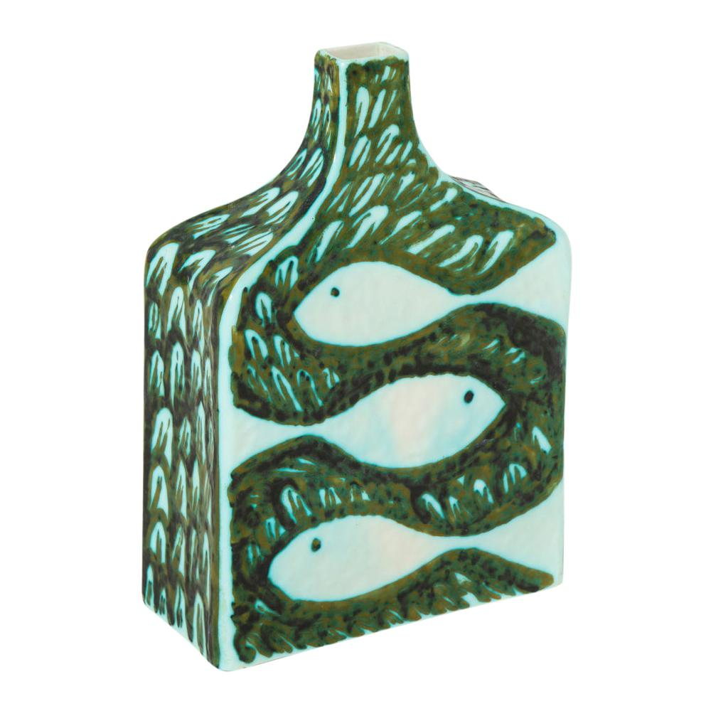 Alessio Tasca for Raymor Vase, Ceramic, Green and White, Signed
