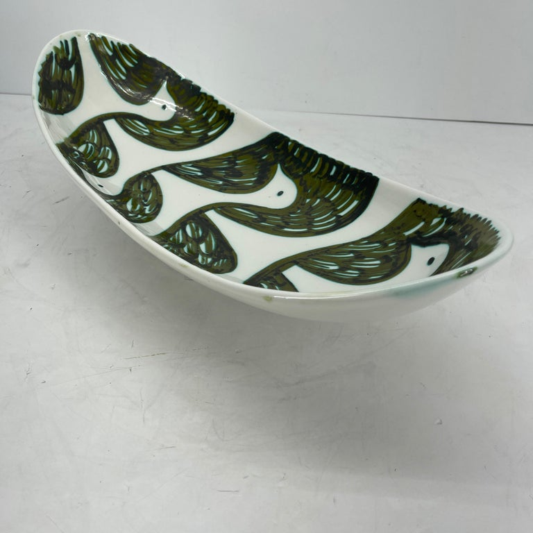 Alessio Tasca Green and White Ceramic Bird Serving Platter Mid-Century Modern For Sale 4