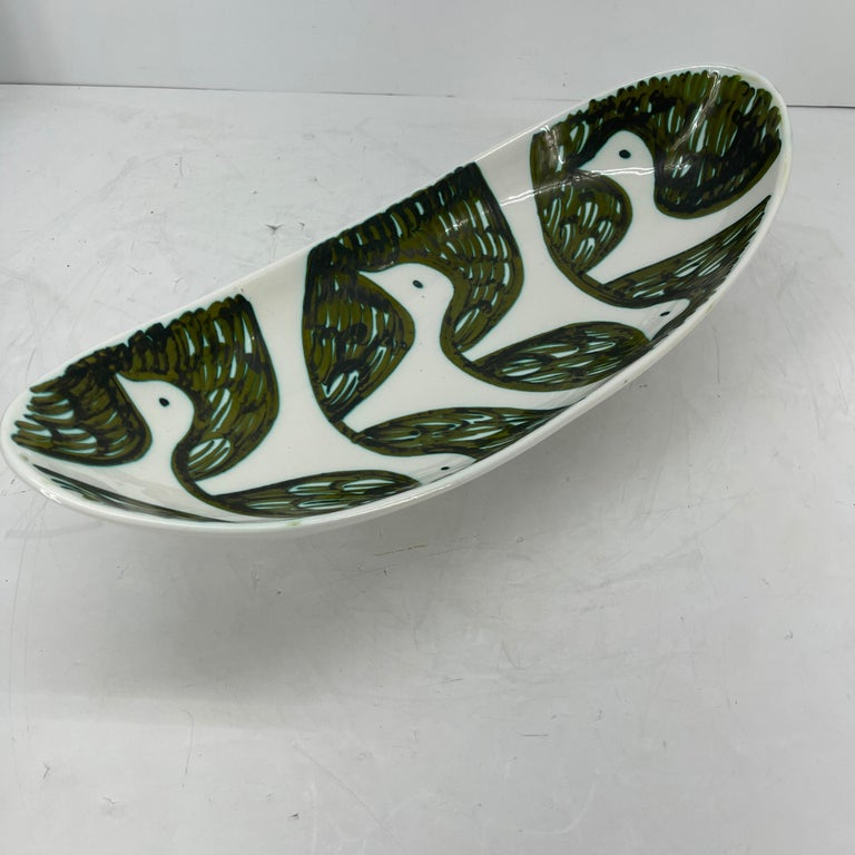 Alessio Tasca Green and White Ceramic Bird Serving Platter Mid-Century Modern For Sale 5