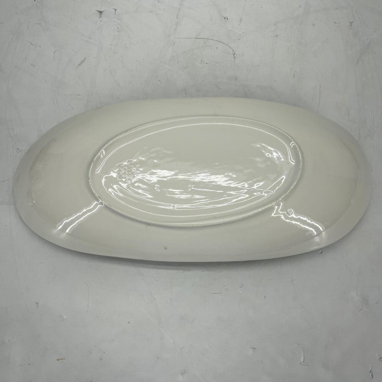 Alessio Tasca Green and White Ceramic Bird Serving Platter Mid-Century Modern For Sale 9