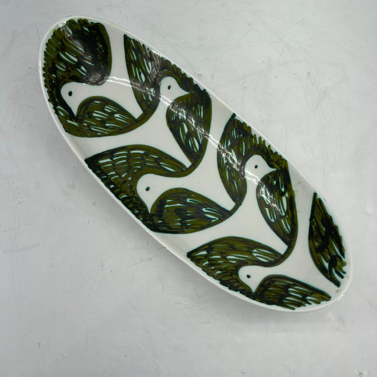 Italian Alessio Tasca Green and White Ceramic Bird Serving Platter Mid-Century Modern For Sale